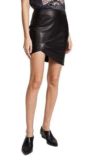 ANINE BING Asymmetric Leather Skirt In Black