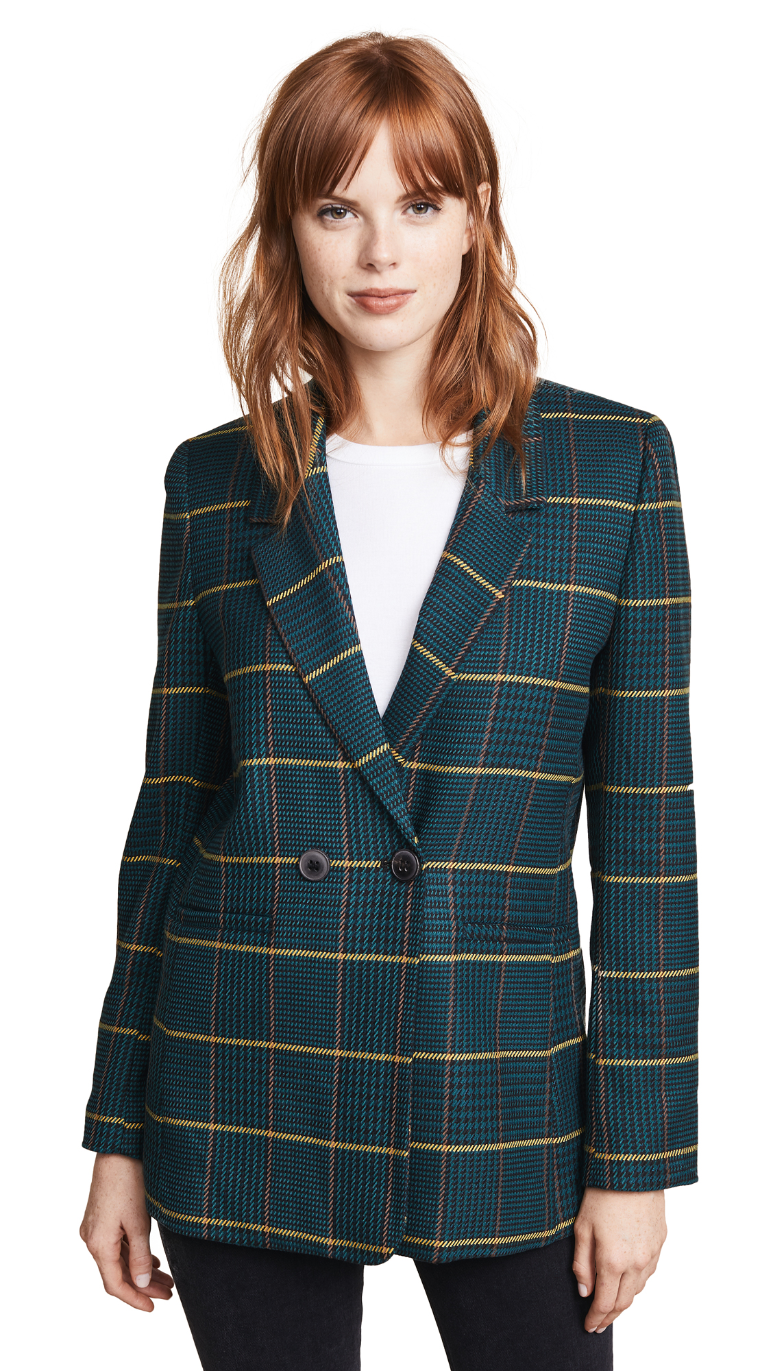 ANINE BING Madeleine Plaid Blazer in Green Plaid