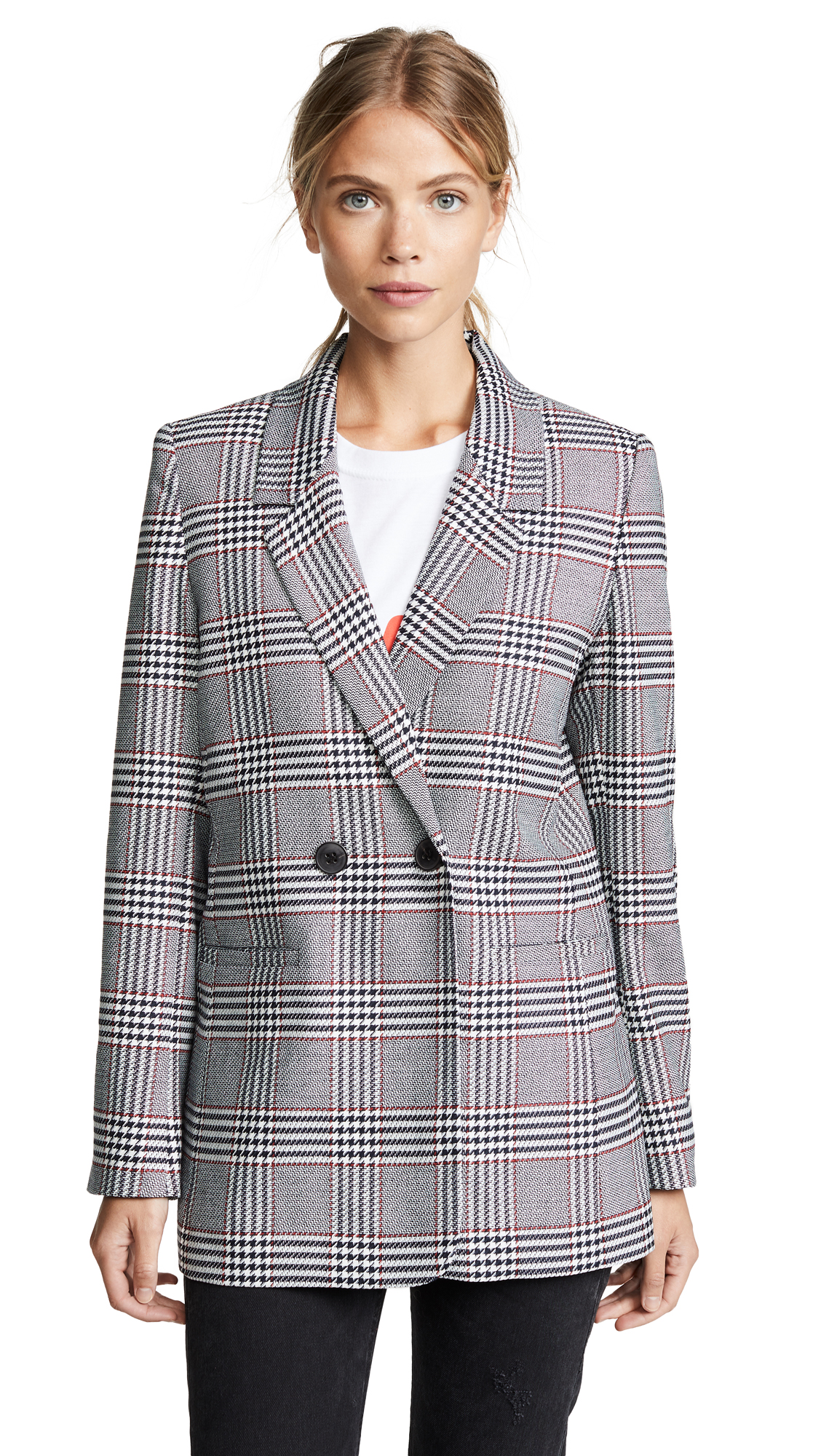 ANINE BING Madeleine Plaid Blazer in Black/White