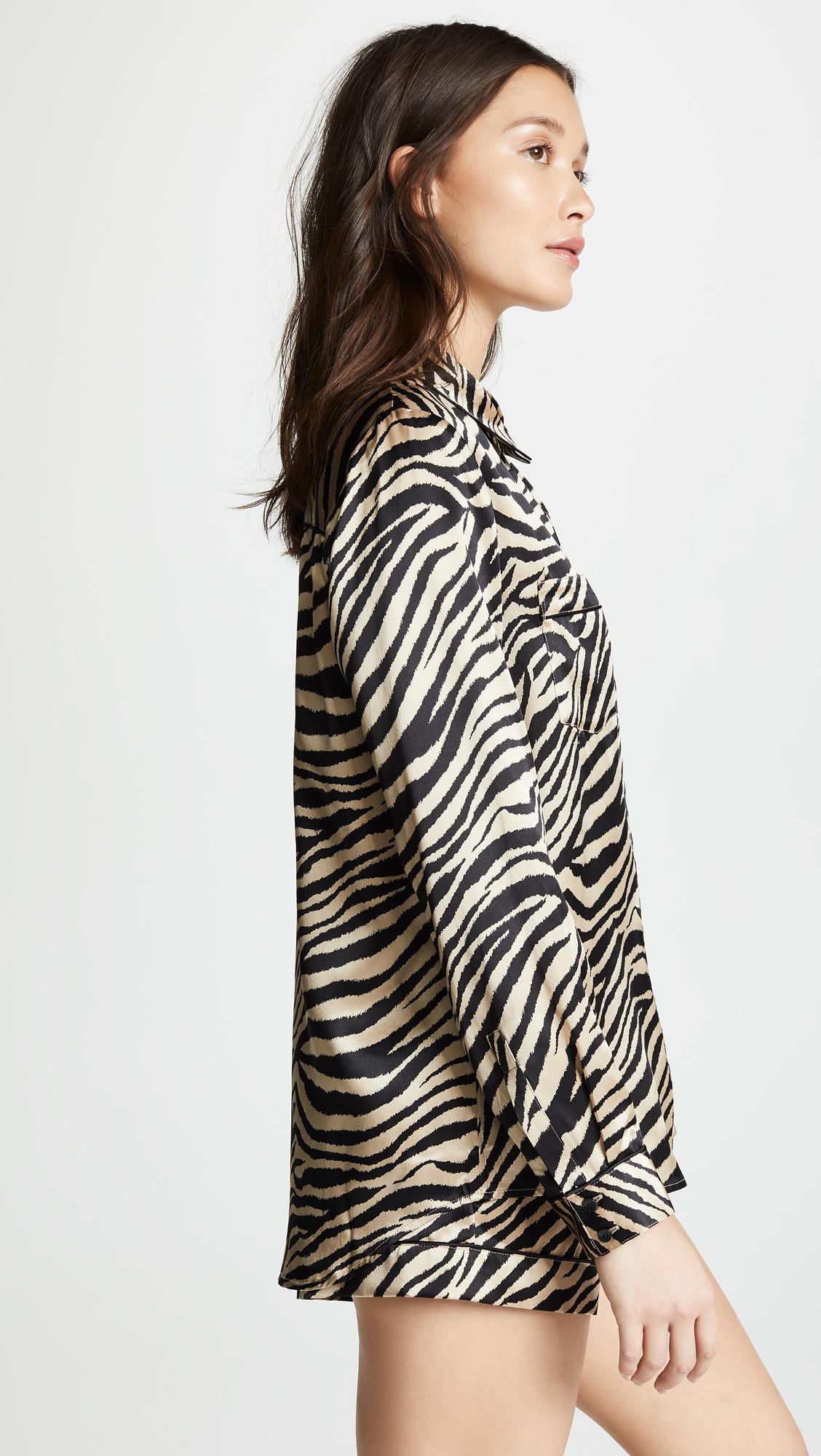 ANINE BING Vivienne Silk Pajama Shirt  087a9cd2f