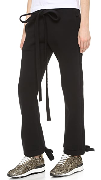 Anna K Cropped Sweats with Knot Cuffs
