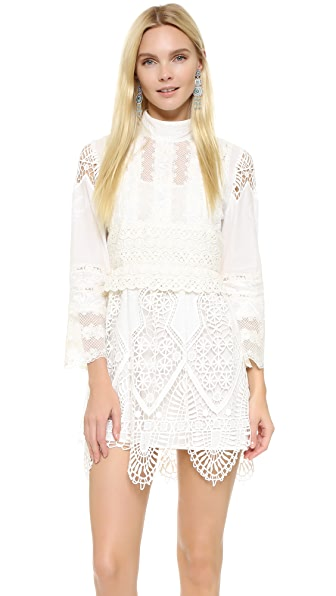 Anna Sui Victorian Embroidered Lace Tunic Dress - White