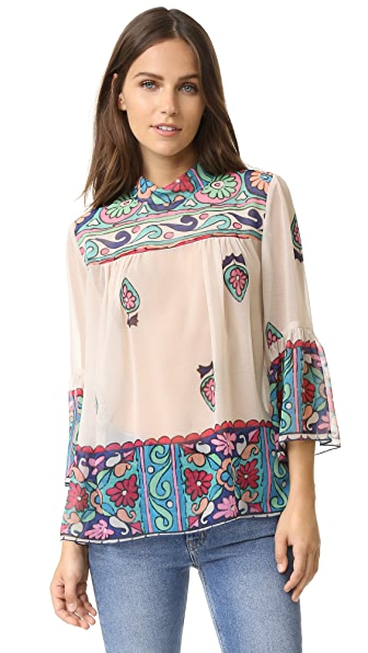 Anna Sui Kaleidoscope Print Top - Cream Multi