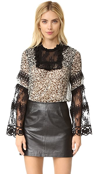 Anna Sui Peacocks Print Chiffon & Lace Top - Black Multi