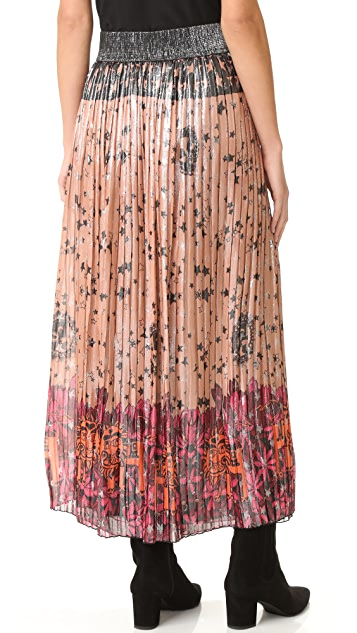 Anna Sui Lion in the Sky Metallic Maxi Skirt