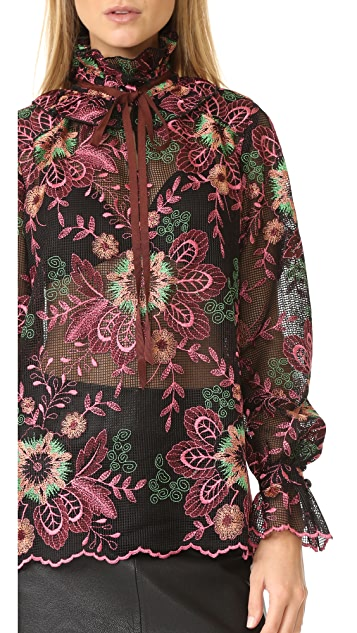 Anna Sui Scroll Flower Lace Top