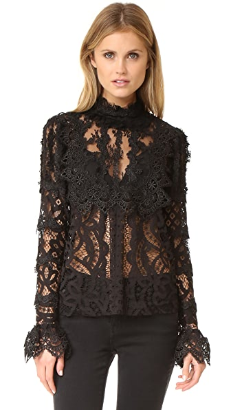 Anna Sui Magical Mystery Lace Top - Black