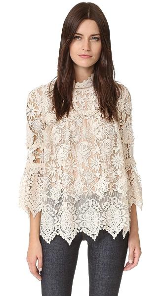 Anna Sui Romantique Lace Top In Cream