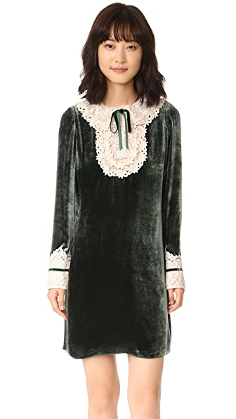 Anna Sui Velvet & Romantique Lace Dress - Forest Multi