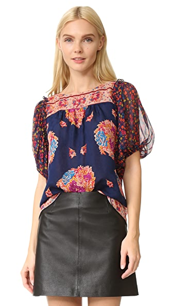 Anna Sui Bouquet Scarf Print Blouse - Navy Multi