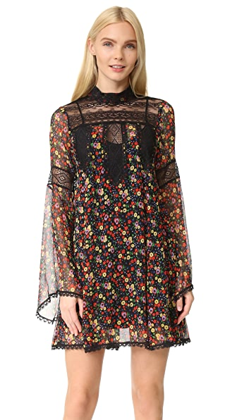 Anna Sui Pansy Print Crinkle Chiffon Dress - Black Multi