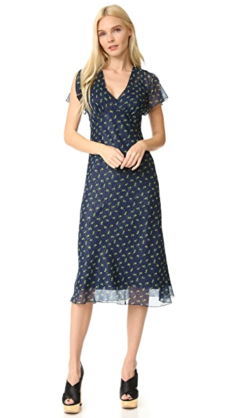 Anna Sui Rosebud Print Metallic Crinkle Chiffon Midi Dress - Navy Multi