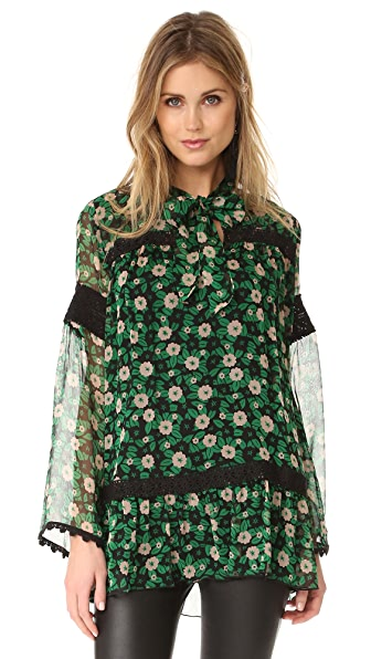 Anna Sui Starry Flower Print Blouse - Black Multi
