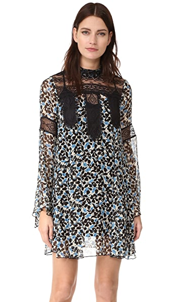 Anna Sui Clover Flower Mock Neck Dress - Black Multi