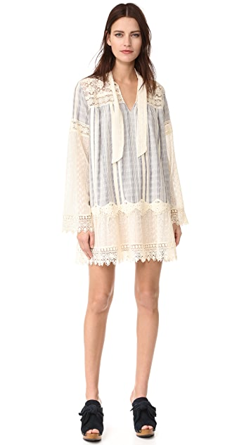Anna Sui Embroidered Lace Strip Dress