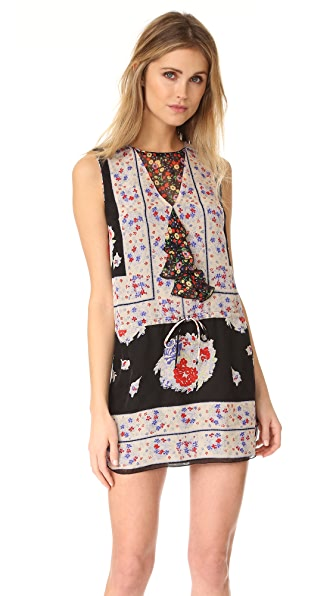 Anna Sui Bouquet Scarf Print Dress - Black Multi
