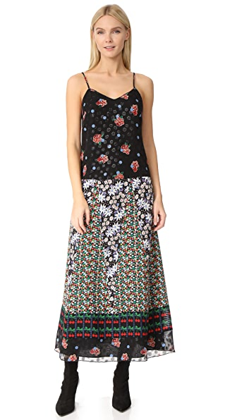Anna Sui Bouquet & Dots Maxi Slip Dress - Black Multi