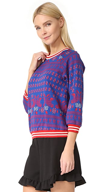 Anna Sui Knit Swan Jacquard Pullover