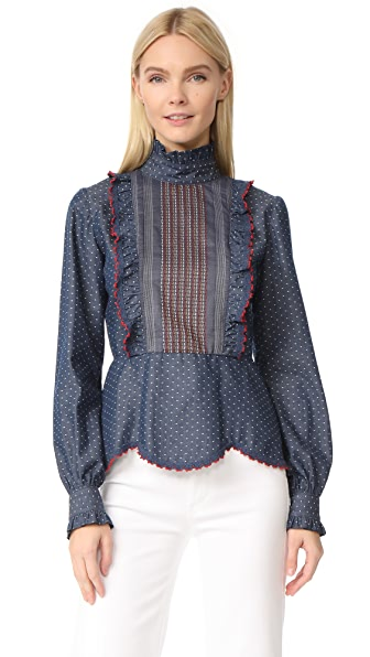 Anna Sui Zigzag Chambray Top In Chambray