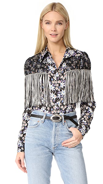 Anna Sui Oops A Daisy Fringe Top In Duck Egg Multi