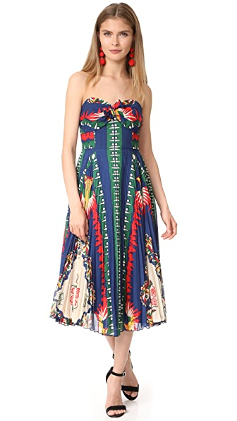 Anna Sui New York Print Pleated Strapless Dress - Navy Multi