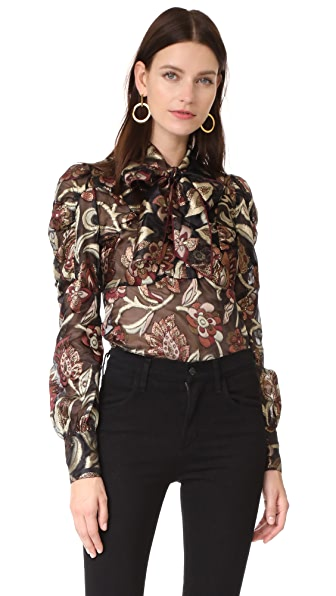 Anna Sui Tie Neck Blouse - Bronze Multi