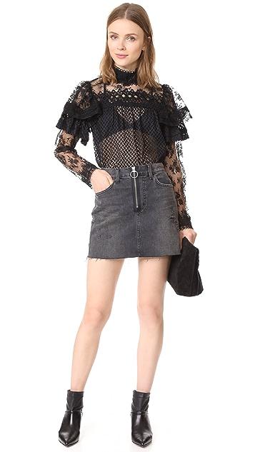 Anna Sui Bold Shoulder Lace Blouse