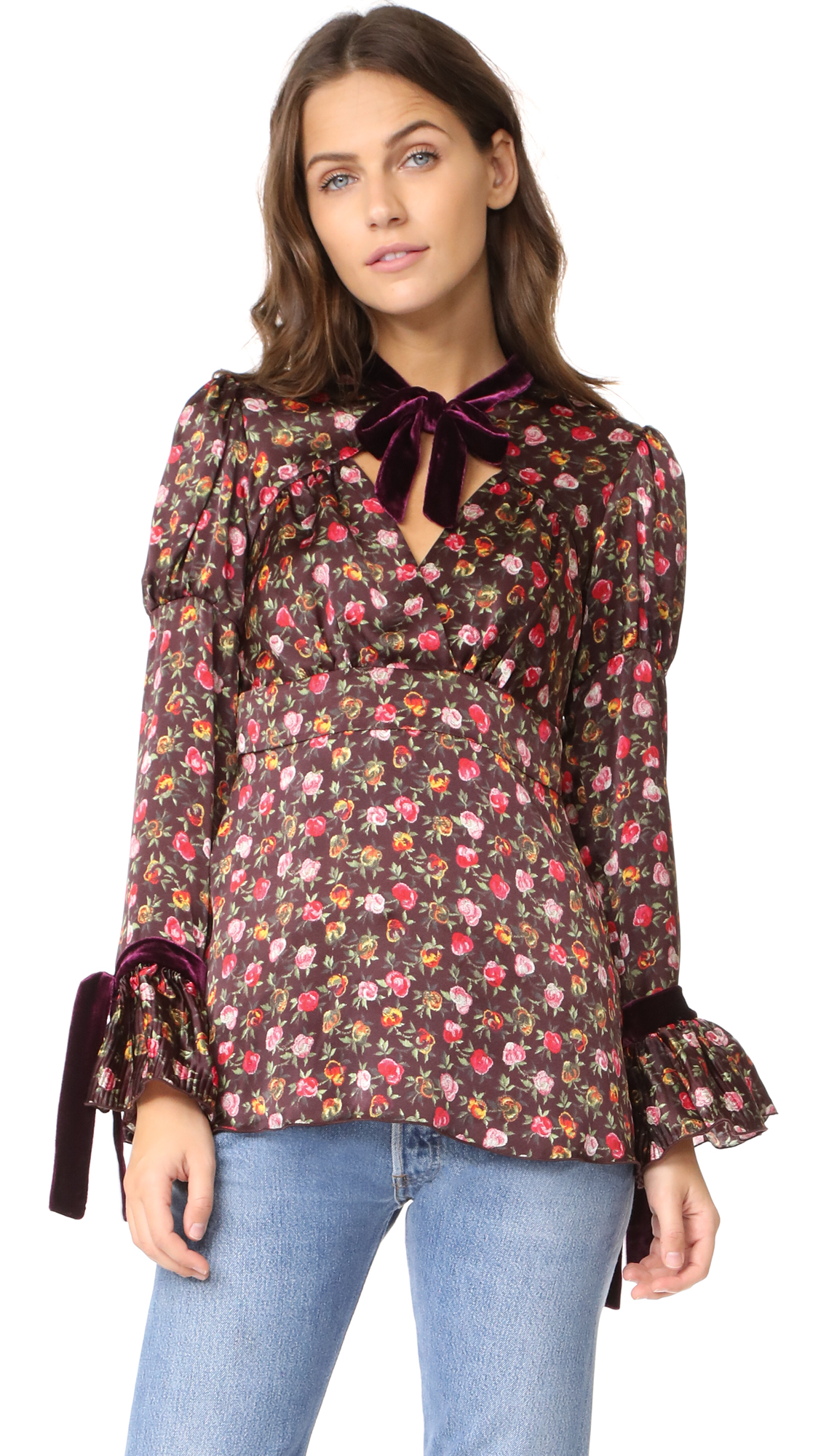 Anna Sui Rosebuds Charmeuse Blouse - Fern Multi