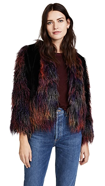 Anna Sui Rainbow Mongolian Faux Fur Jacket at Shopbop
