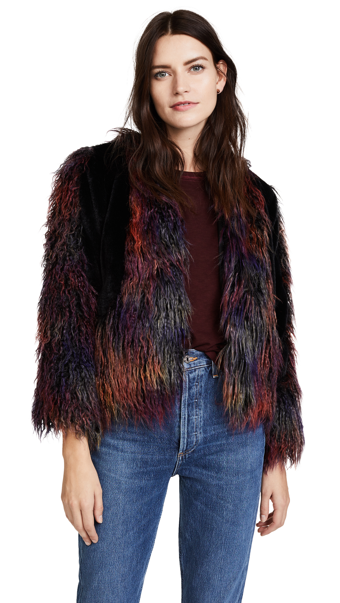Anna Sui Rainbow Mongolian Faux Fur Jacket - Black Multi