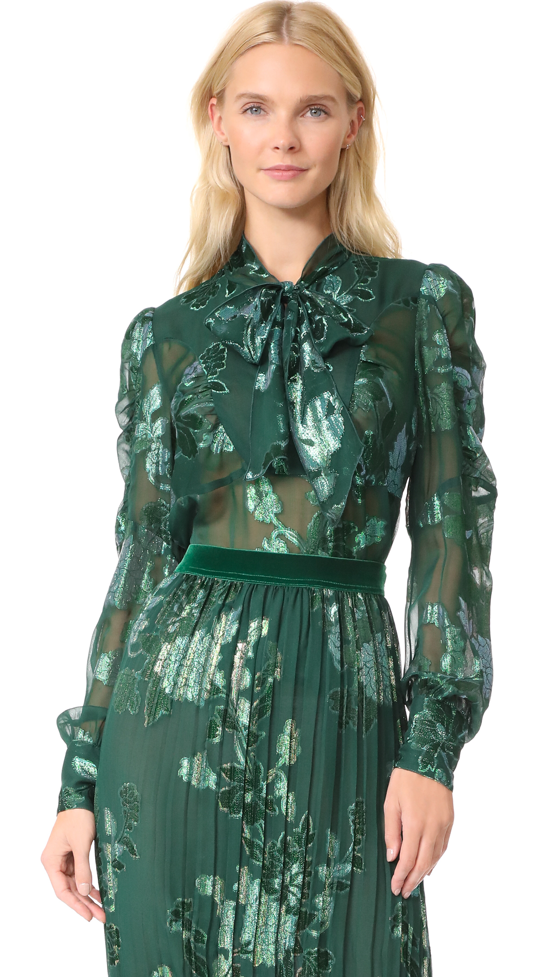 Anna Sui Iridescent Moonlight Garden Top - Forest