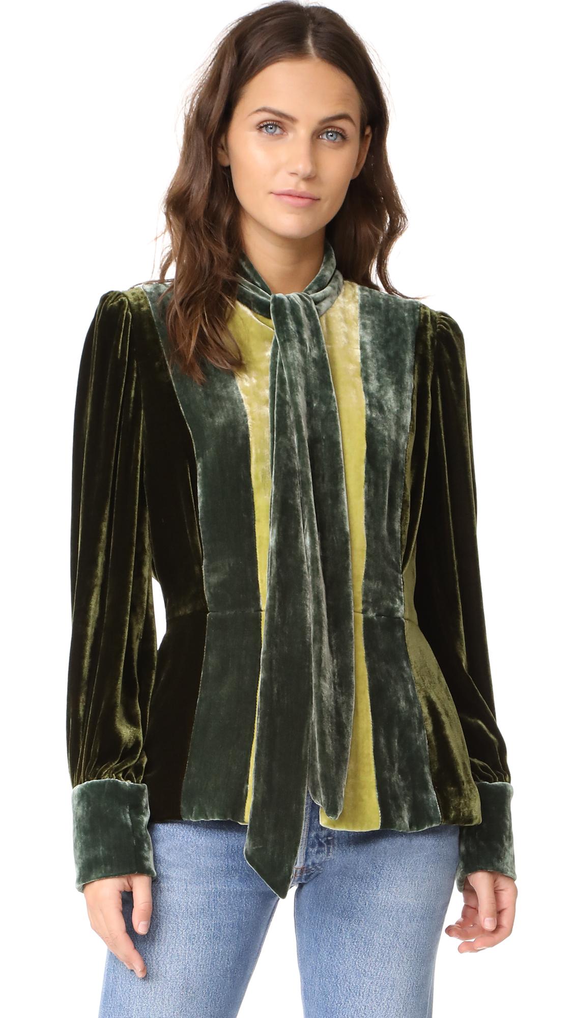 Anna Sui Vintage Velvet Colorblock Jacket - Olive Multi