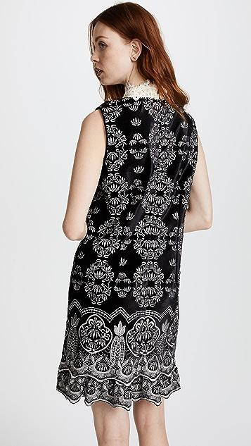 Anna Sui Embroidered Victorian Velvet Dress