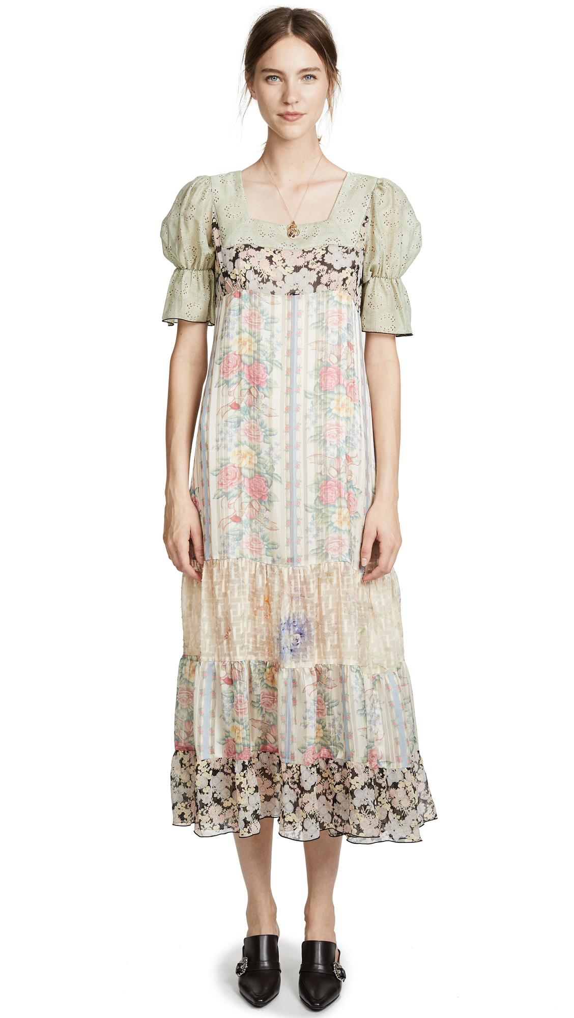 Anna Sui Whisper Rose Maxi In Antique Multi