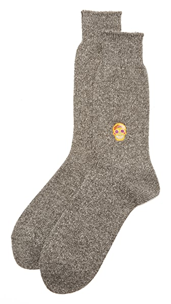 Anonymous Ism Embroidered Skull Socks