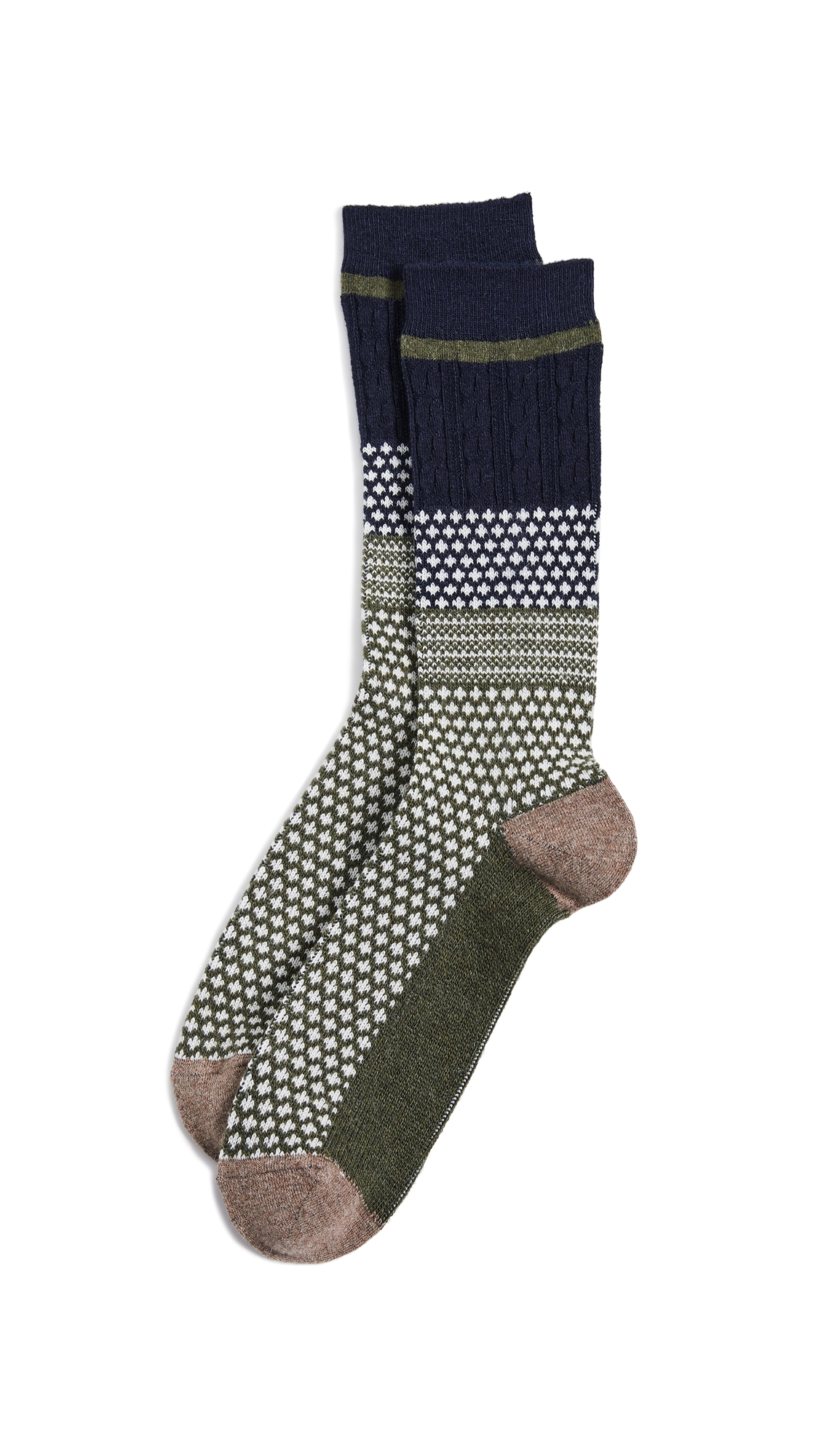 ANONYMOUS ISM CHESUNUT JACQUARD CREW SOCKS