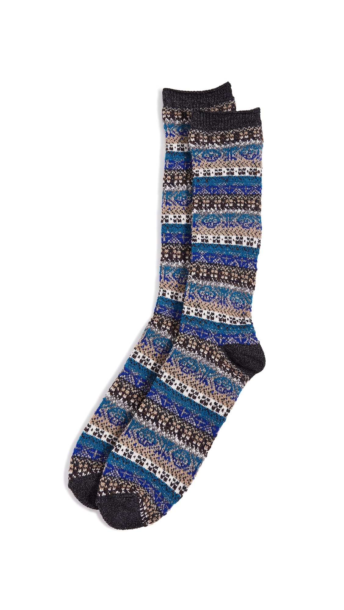 ANONYMOUS ISM FAIRISLE GRADATION CREW SOCKS
