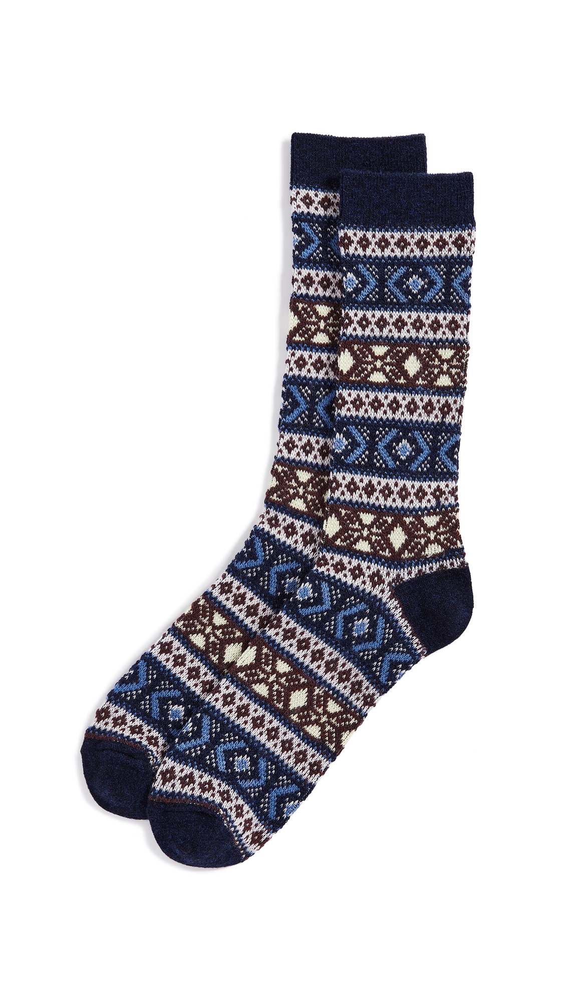 ANONYMOUS ISM Wool Jacquard Crew Socks in Navy
