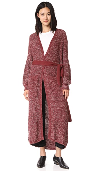 Antik Batik Gary Long Cardigan - Burgundy