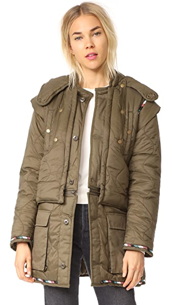 Antik Batik Kabba Two Tone Parka In Khaki