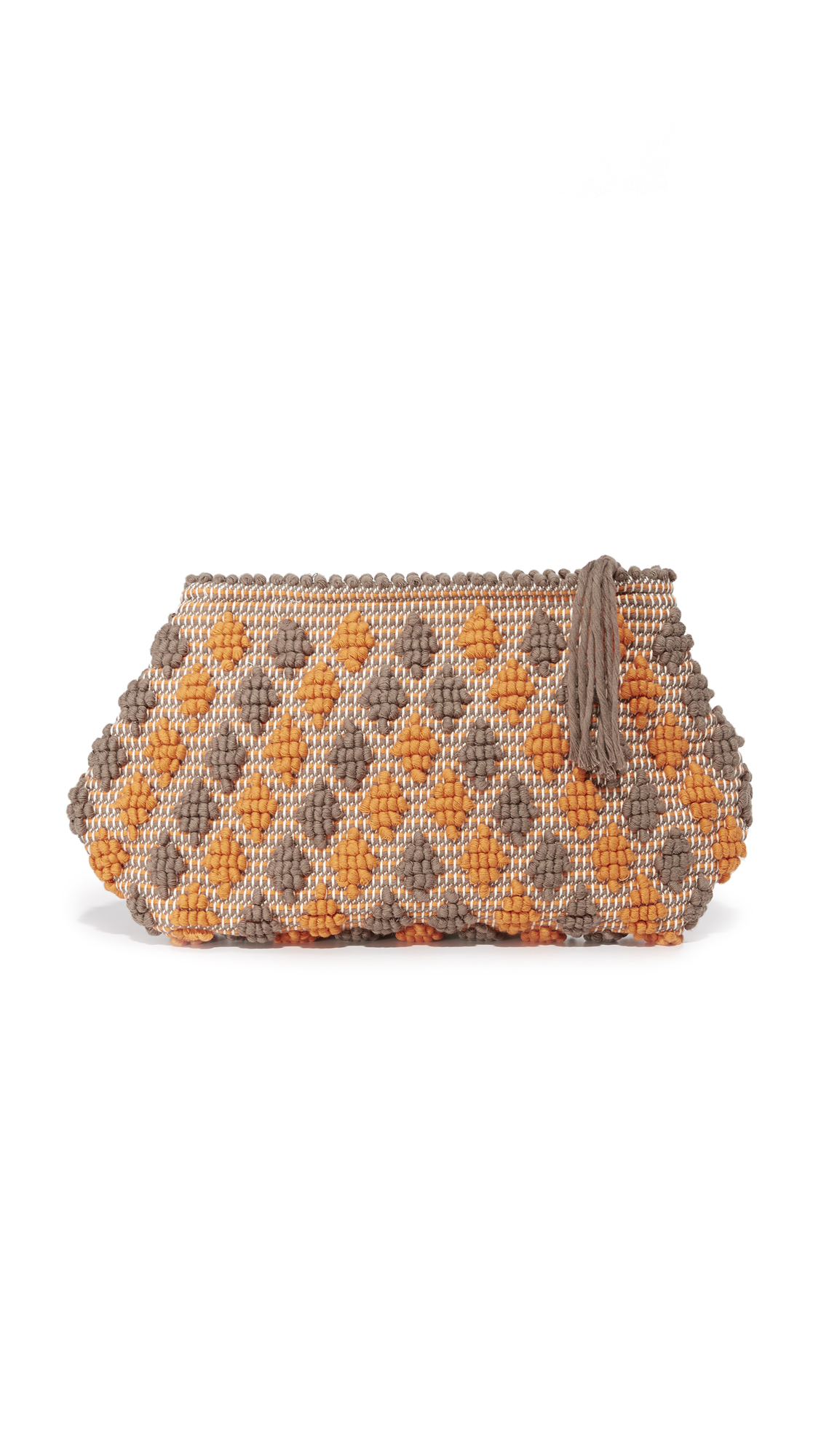 Antonello Piatta Rombetti Clutch - Dark Taupe/Dark Orange