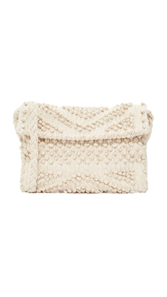 Antonello Suni Rombi Clutch In Cream/Gold
