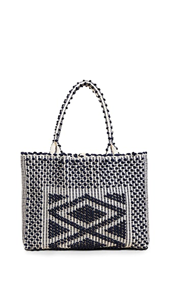 Antonello Liscia Rombi Tote In Blue/Cream