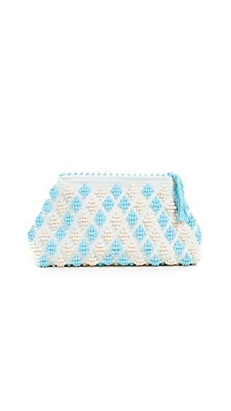 Antonello Piatta Rombetti Clutch In Turquoise/Cream