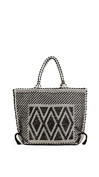 Antonello Large Capriccioli Rombi Tote In Black/Cream