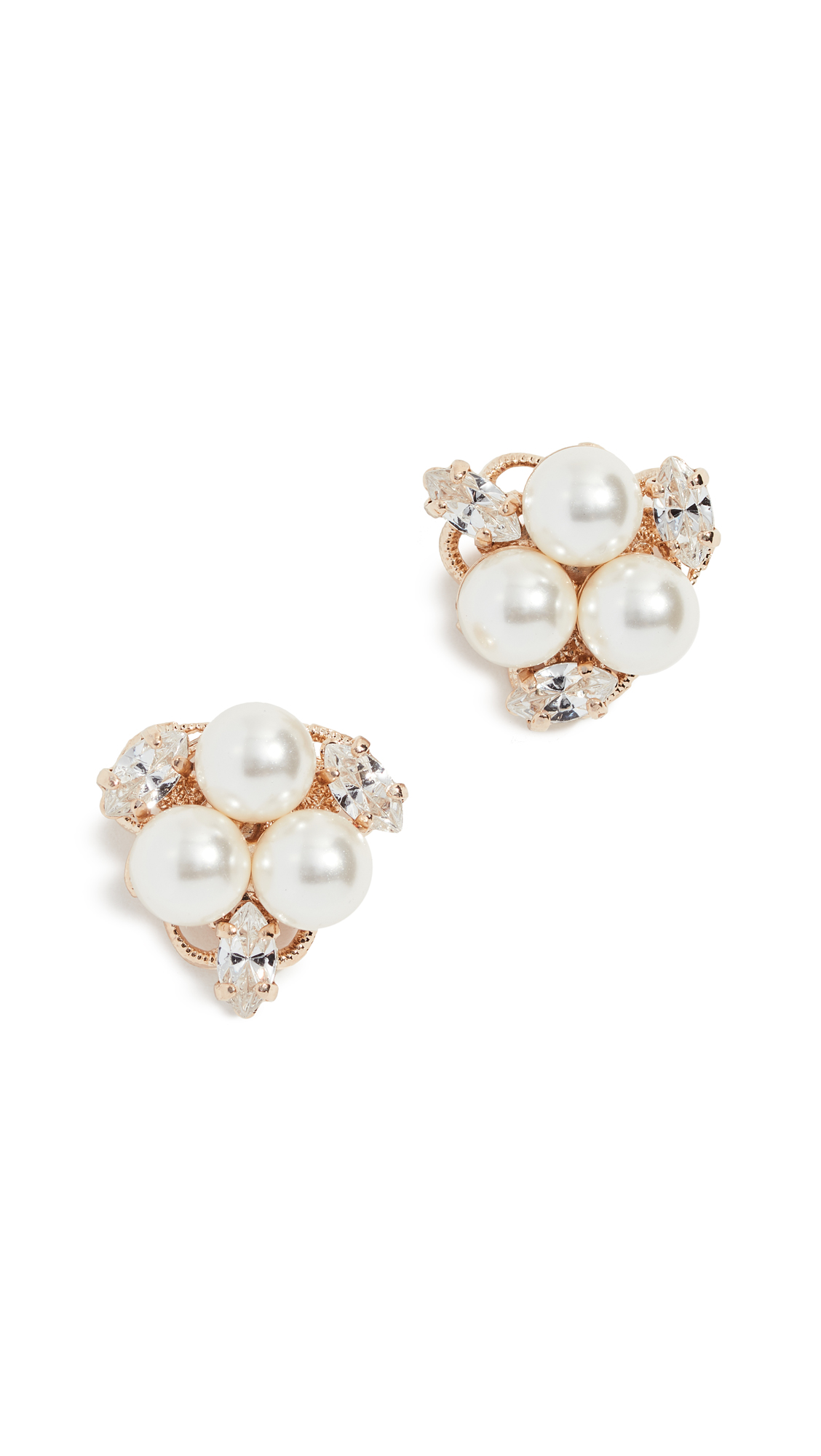ANTON HEUNIS Glass Pearl Cluster Earrings in Yellow Gold/Pearl