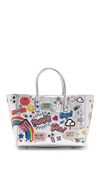 Anya Hindmarch Ebury Small Allover Wink Stickers Tote - Silver