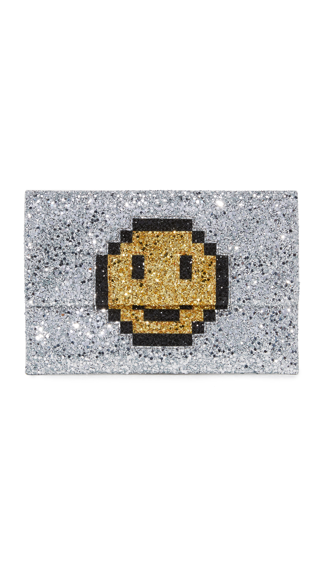 A smiley face adds a playful touch to this slim, glitter coated Anya Hindmarch clutch. Magnetic closures. Leather lined interior with 1 pocket. Dust bag included. Fabric: Glitter coated weave. Weight: 8oz / 0.23kg. Imported, China. Measurements Height: 6.25