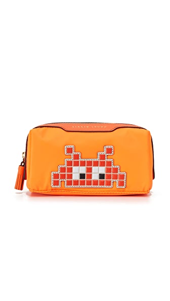 Anya Hindmarch Space Invader Girlie Stuff Bag - Bright Red