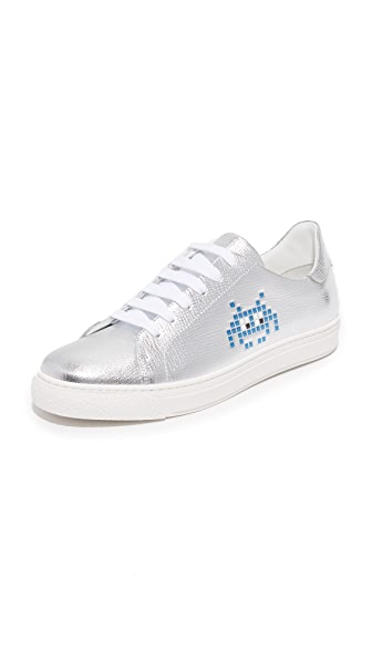 Anya Hindmarch Space Invader Tennis Shoes - Silver at Shopbop